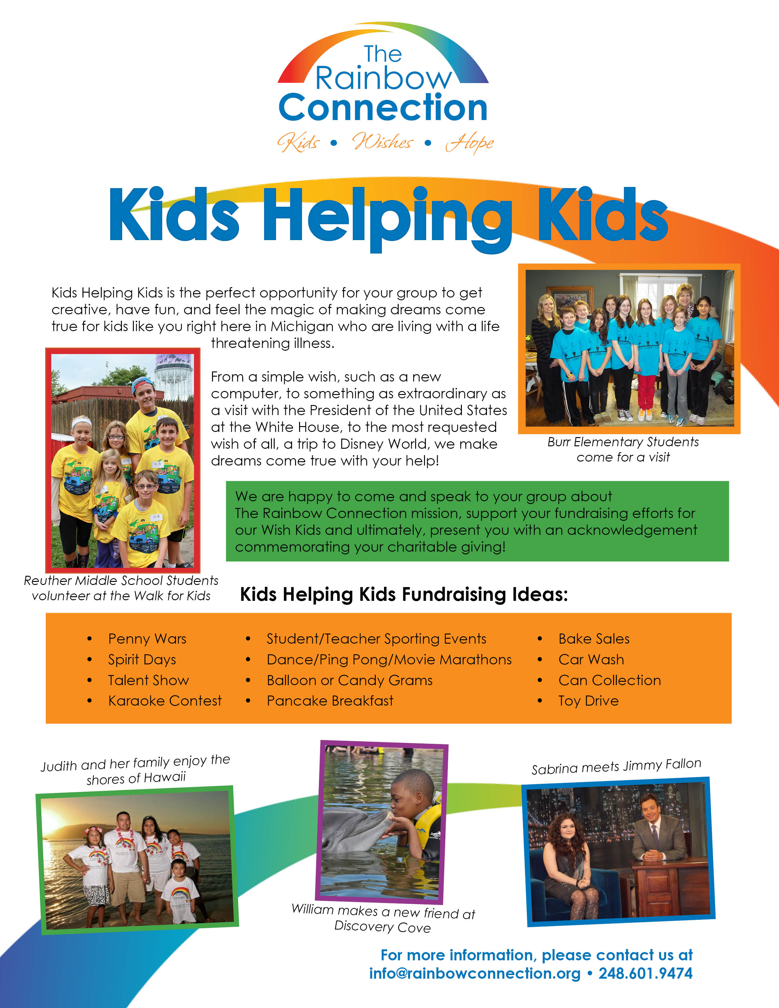 host a kids helping kids fundraiser – the rainbow connection